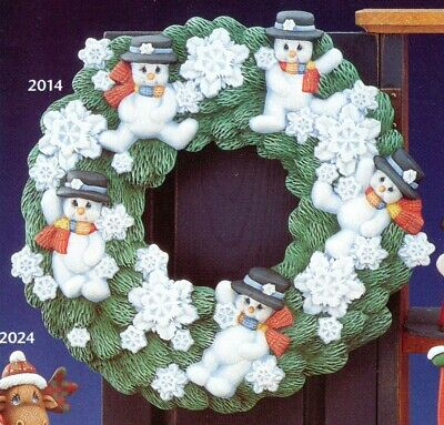 """Ceramic Bisque Hand-Painted Snowman Wreath, 14"""" Tall X 14"""" Wide"""
