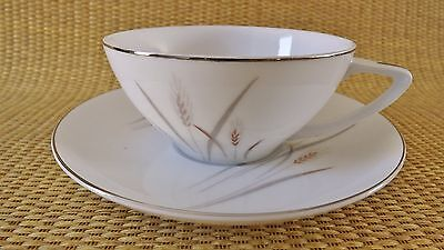 Fine China of Japan Platinum Wheat Dinner Cup And Saucer Set Value Priced