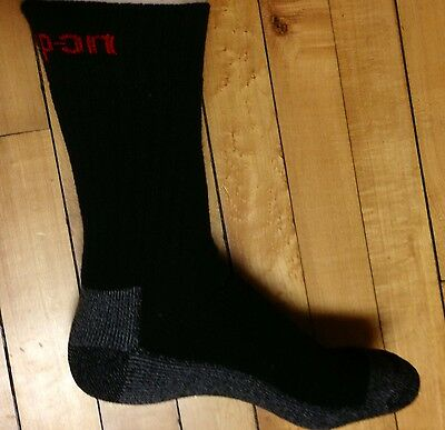 1 Pair Mens Black Snap On Crew Socks L ~ FREE Shipping ~ MADE IN USA     New!