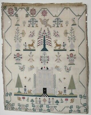 STUNNING UNFINISHED GEORGIAN early 19th Century SILK SAMPLER with cats