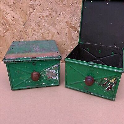 Vintage Industrial Green Painted Metal Tins Storage Tool Boxes - 19 x 20 x 13cm