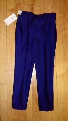 New Boys Marks And Spencer Bright Blue Smart Trousers Age 7/8 Years