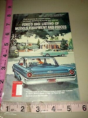 Vintage Auto salesman pamphlet, Ford's 1961 listing of model equipment and price