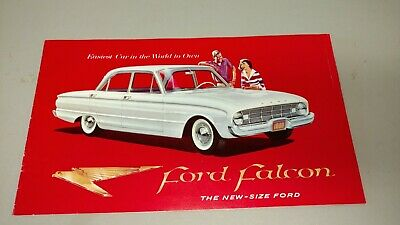 Vintage Auto salesman pamphlet, 1959-60 Ford falcon, red white, new size Ford