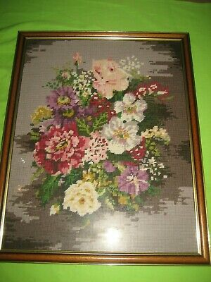 Hand Crafted  Framed Flowers Still  Life Tapestry Picture