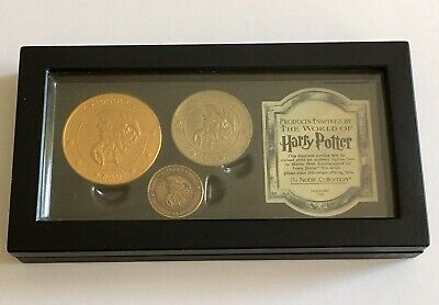 Harry Potter Noble Collection Gringotts Bank Coin Set Boxed Galleon Dragon