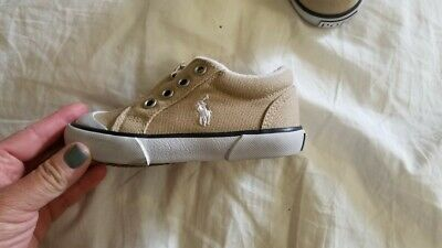 POLO Ralph Lauren Toddler Sneakers Khaki Canvas Lace Up Shoes Size 6