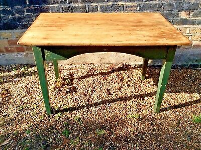 Antique small French Pine Vintage Dining Table or desk chippy painted base