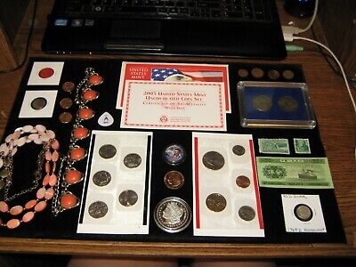 Junk Drawer Coin Lot 2003 Mint Set Silver Coin Jewelry Half Dollars OBAMA Copper