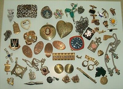 Junk drawer lot old vintage jewelry watches coins & stuff for crafts etc