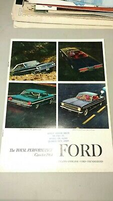 Vintage Auto salesman pamphlet, 1964, total performance cars Ford falcon Fairlan