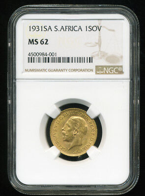 S. Africa Gv 1931 Sa Gold Coin Sovereign * Ngc Certified Genuine Ms 62 * Vibrant