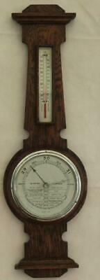 1920c ENGLISH OAK WEATHER STATION BANJO BAROMETER THERMOMETER