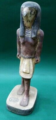 ANCIENT EGYPTIAN ANTIQUES Wooden Statue GOD HORUS Falcon Protection 664-332 BC