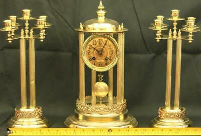 French Antique Two Train 8 Day Brass Corinthian Pillar Bandstand Garniture Clock