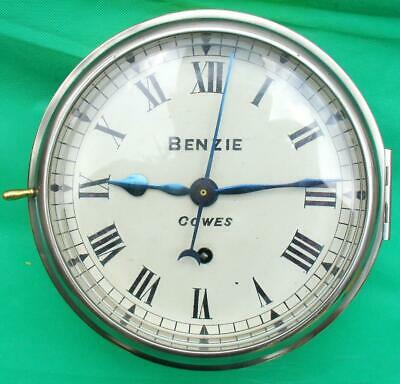Benzie Cowes Antique Chain Fusee 8 Day Marine Ships Clock Just Serviced