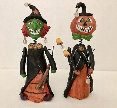 Halloween Bobble Head Figurines- Witch and Jack-o-Lantern Pumpkin