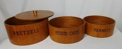 Mid Century Modern VINTAGE Teak Lidded 3PC NESTING SNACK BOWL SET Japan