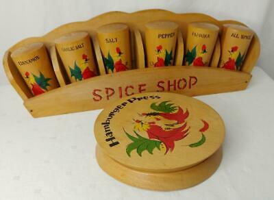 UNUSED Mid Century WOODEN SPICE SHOP SET & Burger Press & STAND Rooster Motif