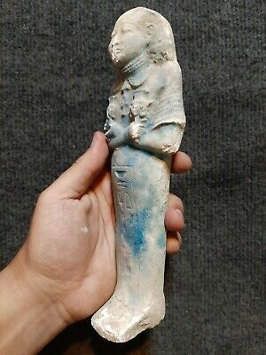 Rare ANCIENT EGYPTIAN ANTIQUES BLUE FAIENCE USHABTI With Hieroglyphics EGYPT BC