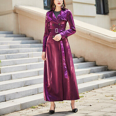 Vintage Women Shiny Belted Double Breasted Trench Coat Outwear Evening Overcoats