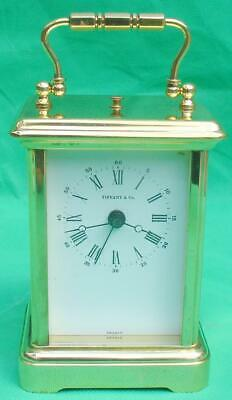 Tiffany & Co French Solid Brass Corniche Quartz Carriage Clock