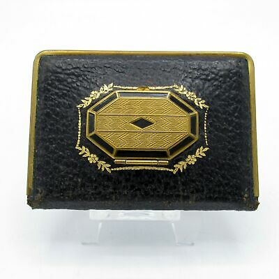 Vintage Art Deco MONDAINE Triple Vanity Compact in Black Leather