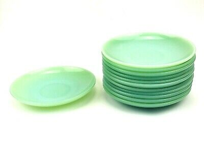 "Lot Of 12 Vintage Fire King Ware Green Jadeite 6"" Restaurant Tea Coffee Saucers"