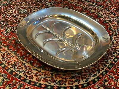 """Wilton Armetal Rwp Pewter Well & Tree L Meat Serving Platter Tray Footed 14"""" Euc"""