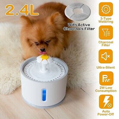 2.4L Automatic Dog Cat Water Fountain Electric LED Pet Flower Water Dispenser US