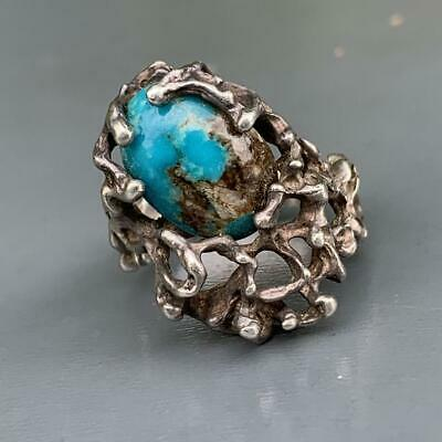 VTG MOD Sterling Silver Brutalist Organic Artisan Rustic Turquoise Ring (71/2-8)