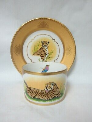Lynn Chase Designs Golden Cheetah Cup & Bread Plate