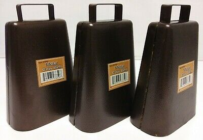 7 Inch Steel Cow Bell with Handle and Antique Copper Finish, 3-Pack