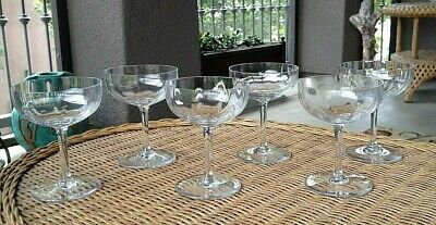 6 Lot Baccarat French Crystal Montaigne Optic Champagne Tall Sherbet Stemware