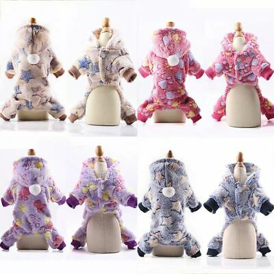 Cute Soft Fleece Dog Jumpsuit Winter Small Puppy Coat Pet Hoodie Jacket Clothes