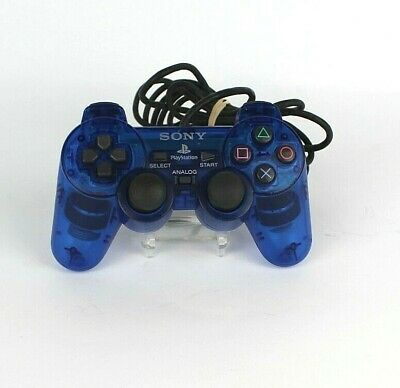 Official Sony PlayStation 2 PS2 Dual Shock Analog Blue Controller OEM SCPH-10010