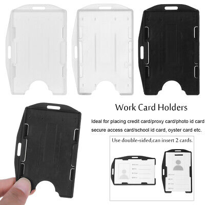 Multi-use Hard Plastic Badge Work ID Card Holder Protector Cover Double Sided