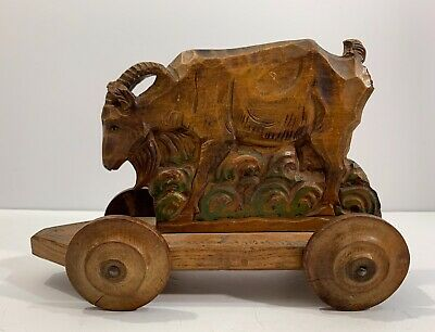 Very Nice Antique German Folk Art Carved Putz Pull Toy Of A Billy Goat Ca 1880s