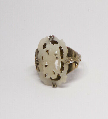 Antique Chinese Export Silver Carved White Jade Adjustable Ring Rare!