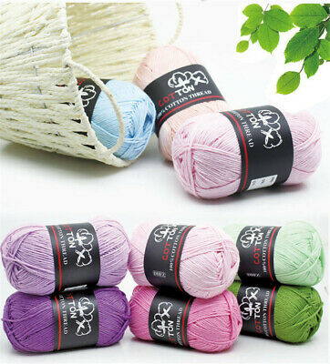 Balls 50g Super Soft Pure Cotton Baby Yarn Hand Knitting Weave Crochet Crafts