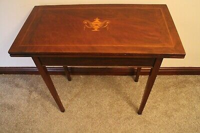 Antique George III  Mahogany And Vase Inlaid Rectangular fold over  Card Table
