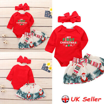 UK Toddler Baby Girl Christmas Xmas Romper Bodysuit Top Skirt Outfit Clothes Set