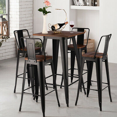 Tolix Industrial Breakfast Bar Stool Table Set w/4X Metal Kitchen Counter Chairs