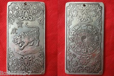 Old Chinese tibet Silver Chinese Zodiac tiger Bullion thanka amulet thangka