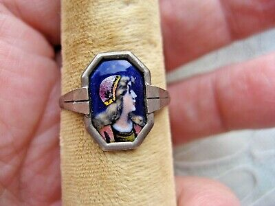 Antique Victorian Edwardian ca1860 enamel silver portrait with Lady ring