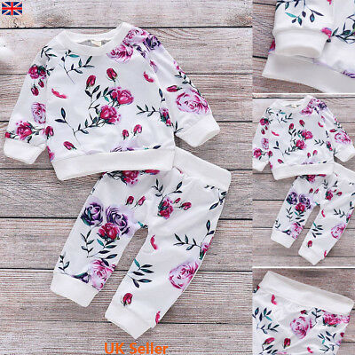 Baby Toddler Infant Girls Floral Tracksuit Tops Pants Trousers Clothes Outfits