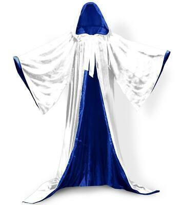 White Velvet Wizard Robe with Satin Lined Hood and Sleeves