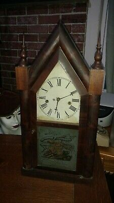 Antique Vintage Waterbury Steeple 8 Day And 30 Hour Mantel Clock Connecticuit