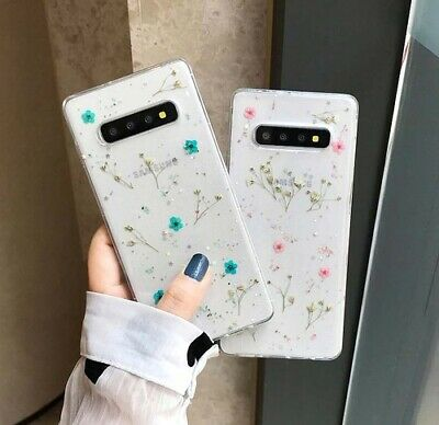 Phone case for Samsung Galaxy S9 S10 Plus Real Grass Flower Clear Soft Silicone