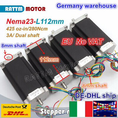 【IT】 4pcs Nema23 112mm High Torque 425oz-in Stepper Motor Dual Shaft CNC Milling
